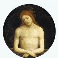 Francesco Raibolini, dit Francesco Francia Bologne, 1450 – Bologne, 1517 Le Christ mort (Vers 1510–1515) Huile sur bois Diamètre 17,3cm Legs Jean Gigoux, 1894 (inv.896.1.12)